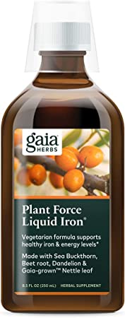 Gaia Herbs PlantForce Liquid Iron Supplement, 8.5 Ounce - Supports Healthy Iron and Energy Levels, Great-Tasting Vegetarian Herbal Formula, (Packaging May Vary)