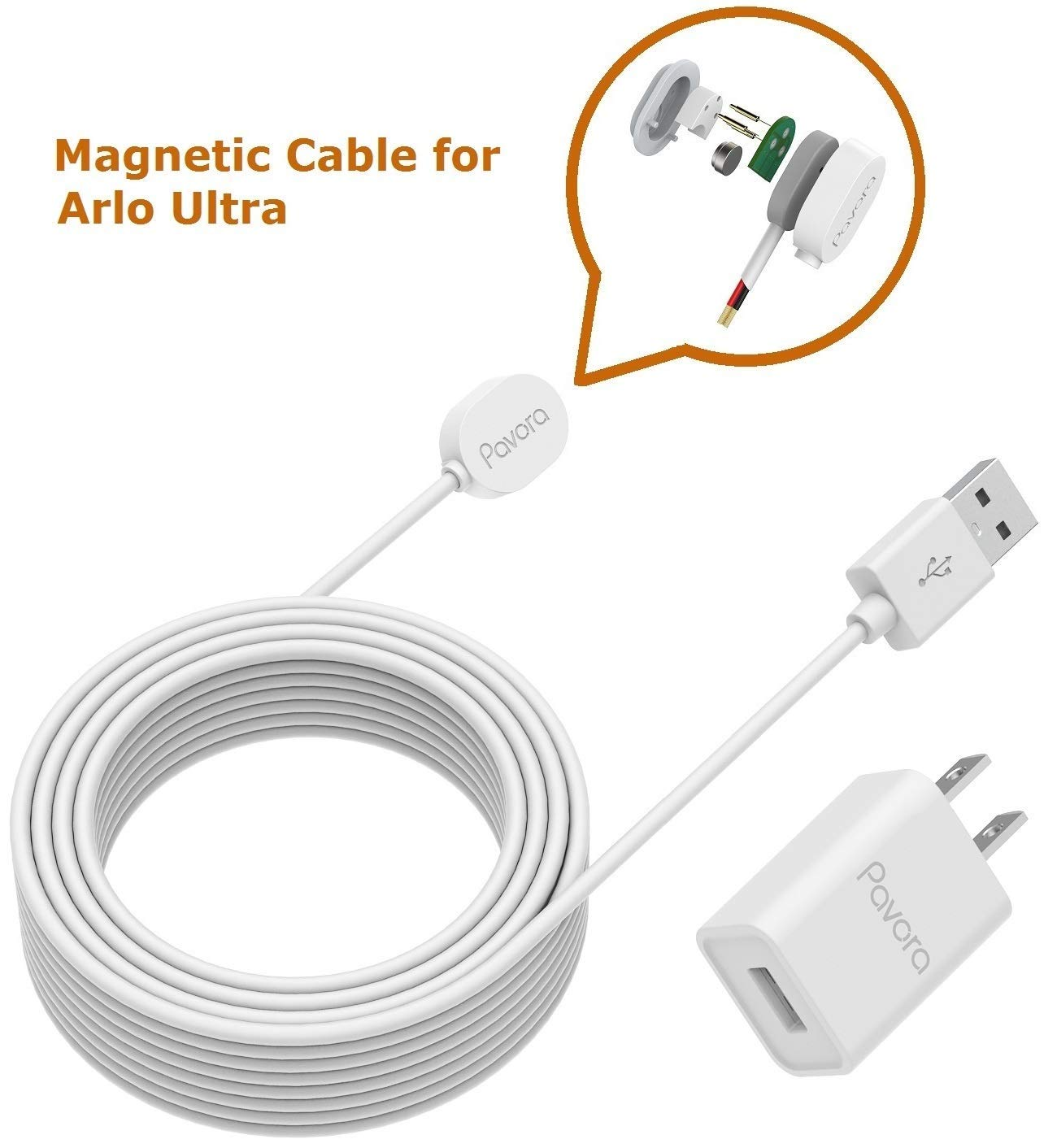 Arlo Ultra Power Cable and Adapter, Magnetic Charging Cable for Arlo Ultra 25ft/7.6M Weatherproof Outdoor or Indoor Cable with Quick Charger Power Adapter Compatible Arlo Ultra by Pavora