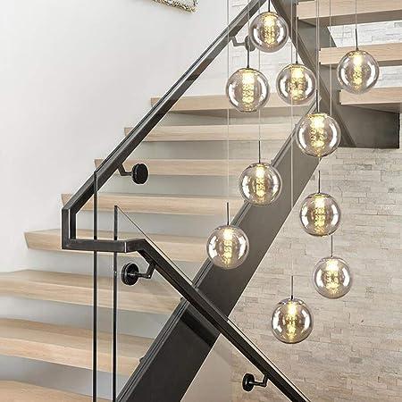 10 | 12 Luces escalera colgantes de techo Luz pendiente moderna minimalista Escalera Araña restaurante Bola