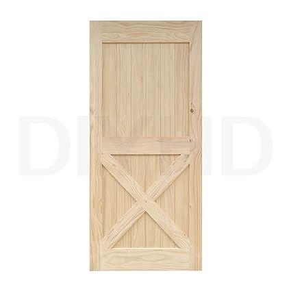 Incroyable 38 In84 In Pine Knotty Sliding Barn Wood Door Slab Two Side X Shape Barn