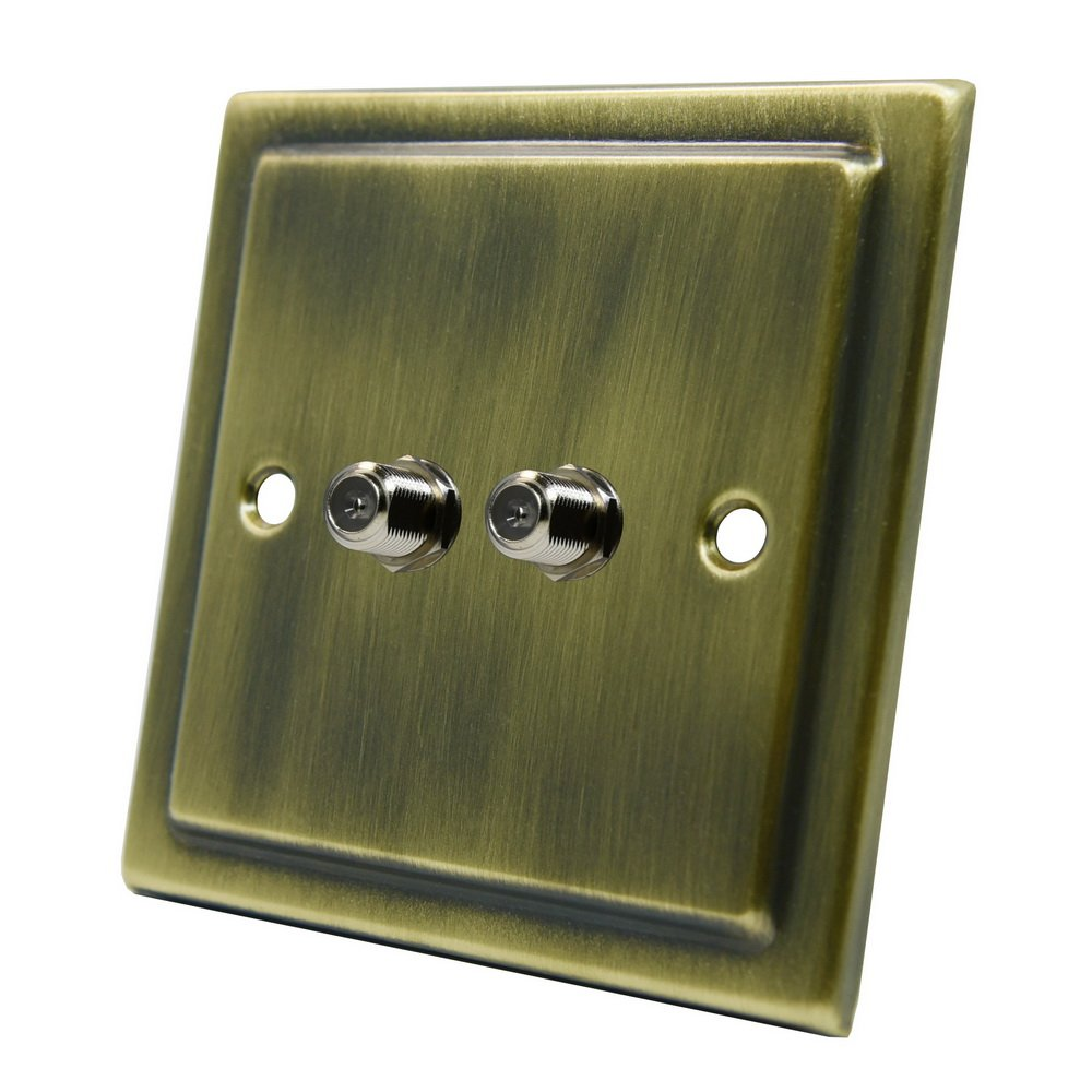 AET VAB2GSKY Victorian Antique Brass 2 Gang Sky Double F Type Socket for Satellite Outlets