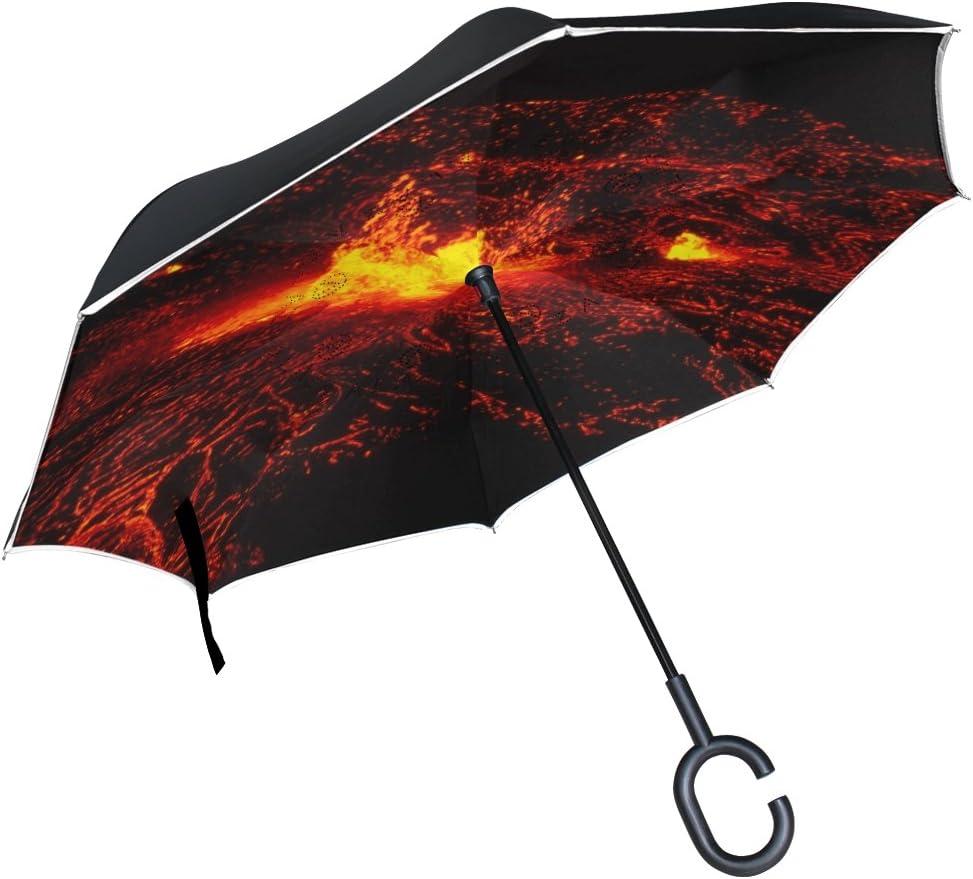 Isaoa Unisexe Grand parapluie invers/é Parapluie coupe-vent double couche Construction invers/ée Parapluie pliable pour auto imperm/éable /à lext/érieur poign/ée en forme parapluie Parapluie Volcanique