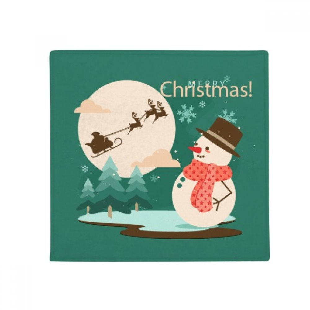DIYthinker Merry Christmas Snowman Tree Pattern Anti-Slip Floor Pet Mat Square Home Kitchen Door 80Cm Gift