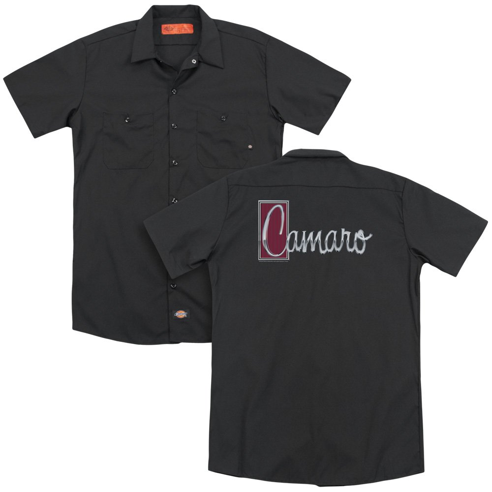 Chevrolet/Chrome Script (Back Print) Mens Work Shirt (Black, ) Trevco