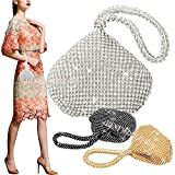 Wocharm Mini Soft Body Bridesmaid women girl bride bling Diamante Crystal Prom Cocktail Party Wedding Engagement Evening Bag Purse Clutch Pouch Gold Silver