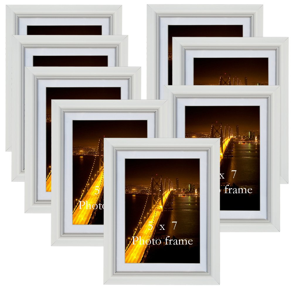 PETAFLOP 5x7 Picture Frame Set Hold 5 by 7 inch White Photo Frames,Set of 8 Pieces