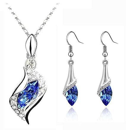 91cd455080a776 Amazon.com: CrazyPiercing Long Teardrop False Element Set Austria Crystal  Fashion Earrings Pendant Necklace (blue)