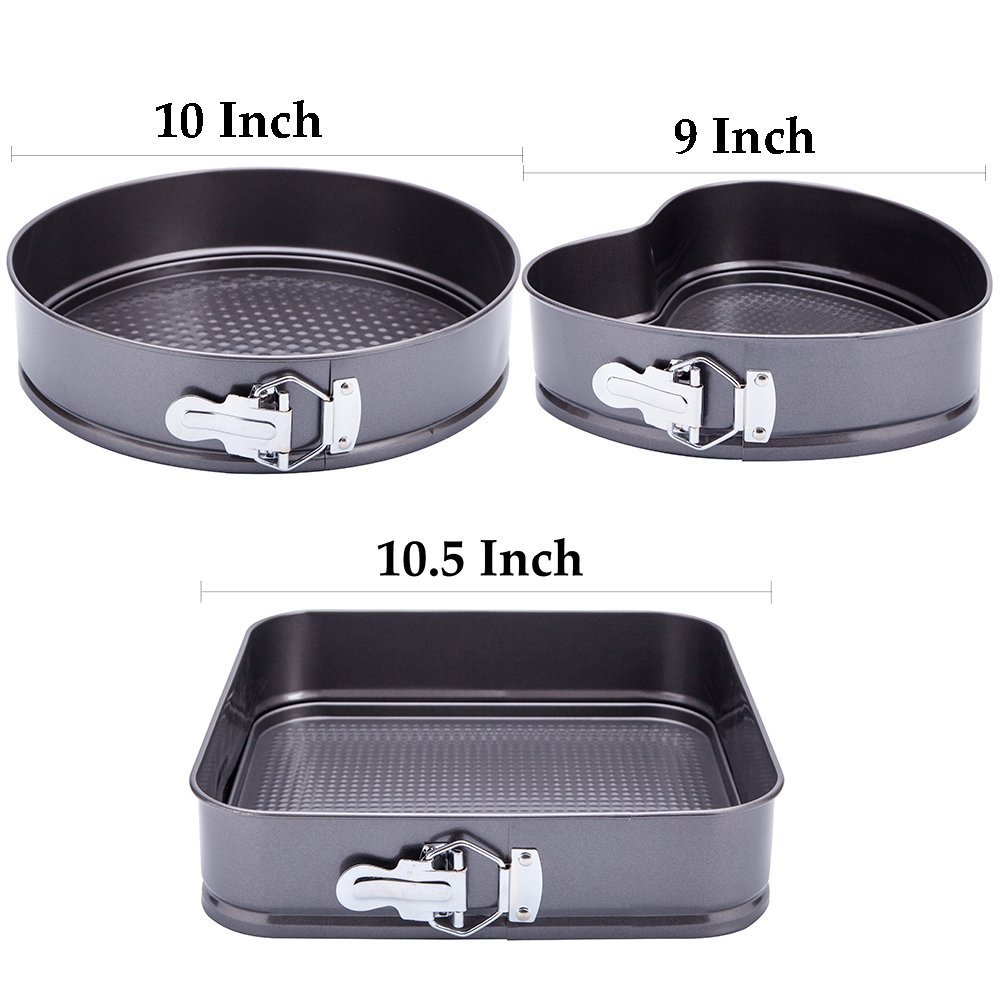WARM MAISON Nonstick Springform Pan Set Leakproof 10.5inch Square 10 inch Round 9 inch Heart Baking Pie Cheese Cake Molds Pan Set with Quick Release Latch and Removable Bottom by WARM MAISON (Image #7)