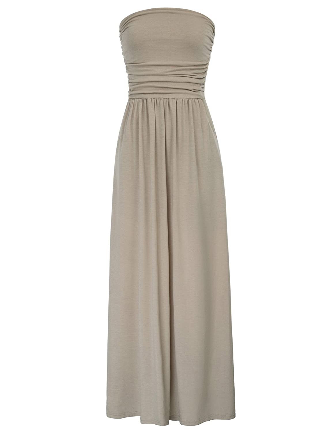 79f2dd3218 GRACE KARIN Womens Strapless Ruched Casual Maxi Dress with Pockets CLAF0224  at Amazon Women's Clothing store: