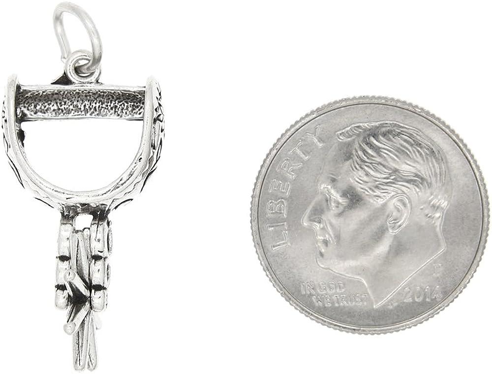 Sterling Silver Oxidized Three Dimensional Cowboy Spur Charm