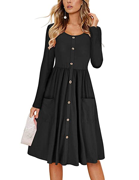 52d54d1155 HMei Women s Long Sleeve V Neck Button Down Swing Midi Skater Dress with  Pockets at Amazon Women s Clothing store
