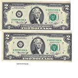 U.S. Treasury Two Dollar Bills 1976 (2 Notes) - Rare Bicentennial 1976 $2 Bills in Collectible Currency Holder (Varying Condition)