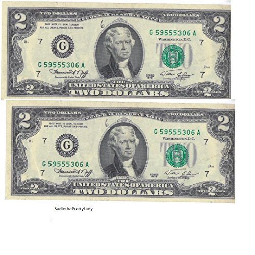 Two Dollar Bills 1976 (2 Notes) - Rare Bicentennial 1976 $2 Bills in Collectible Currency Holder (Varying Condition) (Rare Dollar Coins)