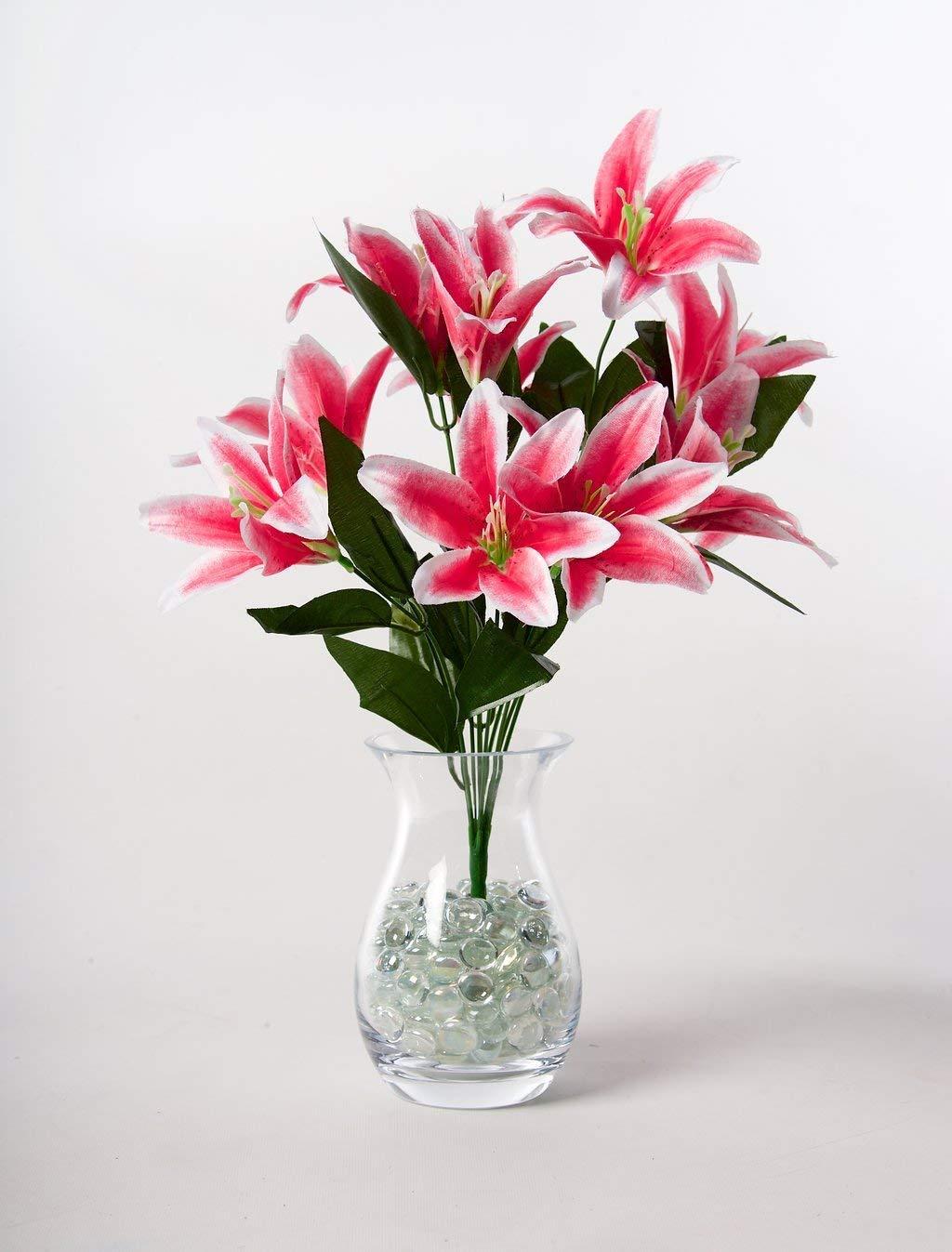 silk flower arrangements maylife 45cm stargazer lillies 10 head flower lily spray bunch (dark pink)