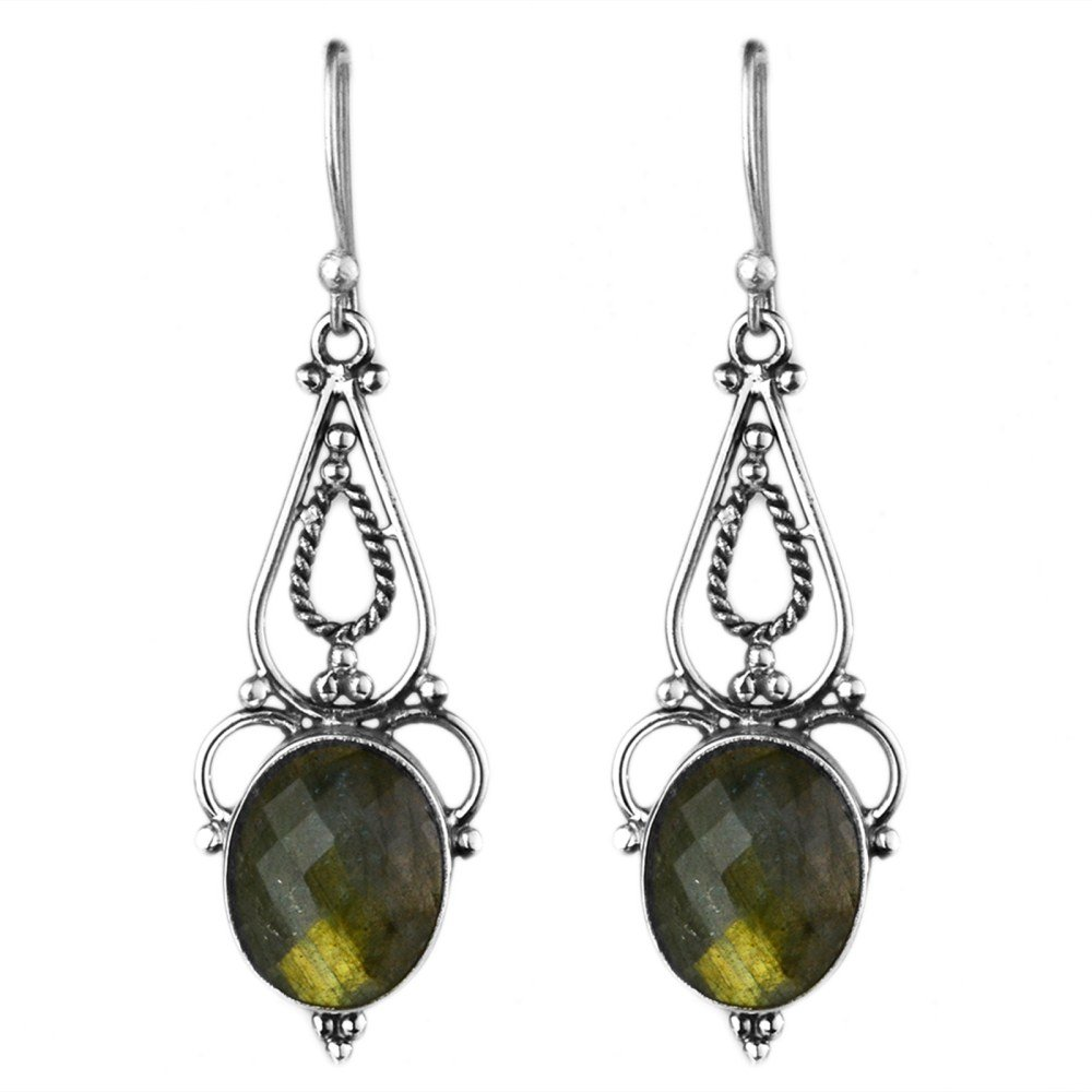 Crystalcraftindia fashion stylish /& classy earrings design for girls and women by Fire Labradorite gemstone hanging earrings 5.40 g