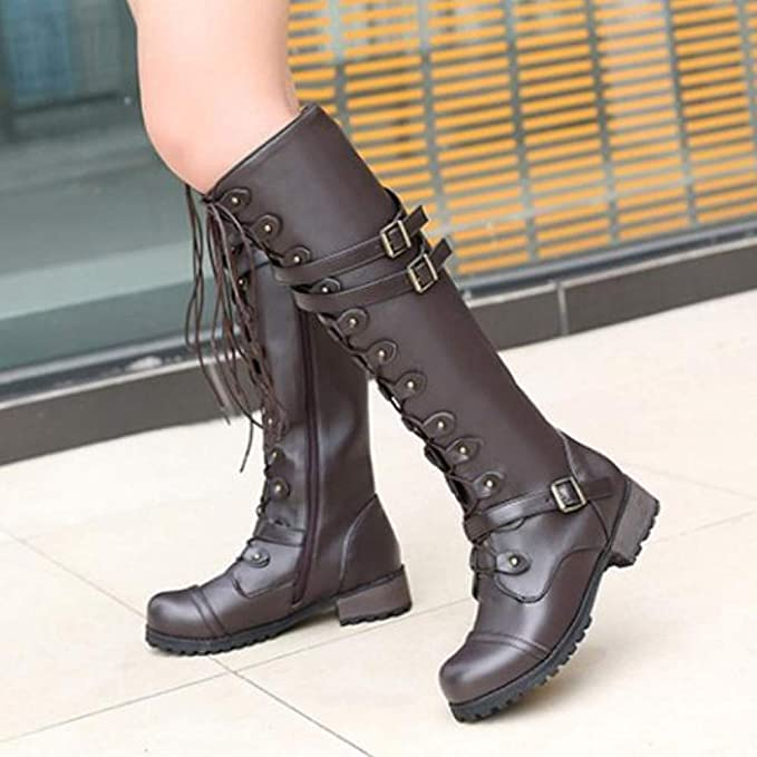 Amazon.com: Vintage Women High Tub Boots Punk Gothic Style Lace-up Belt Buckle Military Combat Boots: Kitchen & Dining