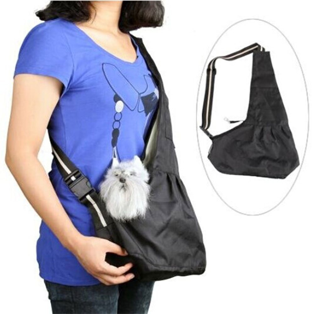 Prettysell Pet Dog Puppy Cat Carrier Bag Oxford Cloth Sling Single Shoulder Bag-Small,Black by Prettysell (Image #2)