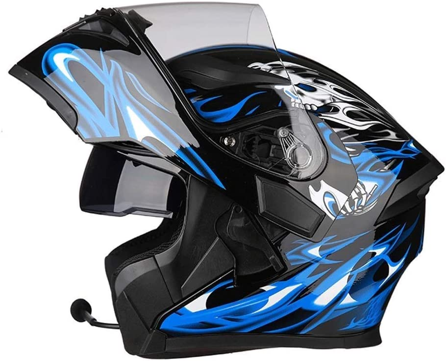 QIULAO Manchas Casco Motocicleta Montar al Aire Libre Auricular Bluetooth HD Espejo antivaho Casco Integral Hombres y Mujeres Personalidad Fresca (Color : Blue Magic, Size : XL)