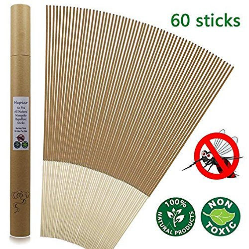 Hapico Mosquito Repellent Sticks, All Natural Citronella Mosquitoes Incense Sticks Outdoor Bug Resistant Wipes Insect- Non Toxic, Eco Friendly- Lasting 1 Hour per Stick, for Garden Yard Hiking Camping