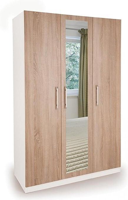 Incredible Euston 3 Door Wardrobe With Mirror White Oak Bedroom Home Interior And Landscaping Ponolsignezvosmurscom