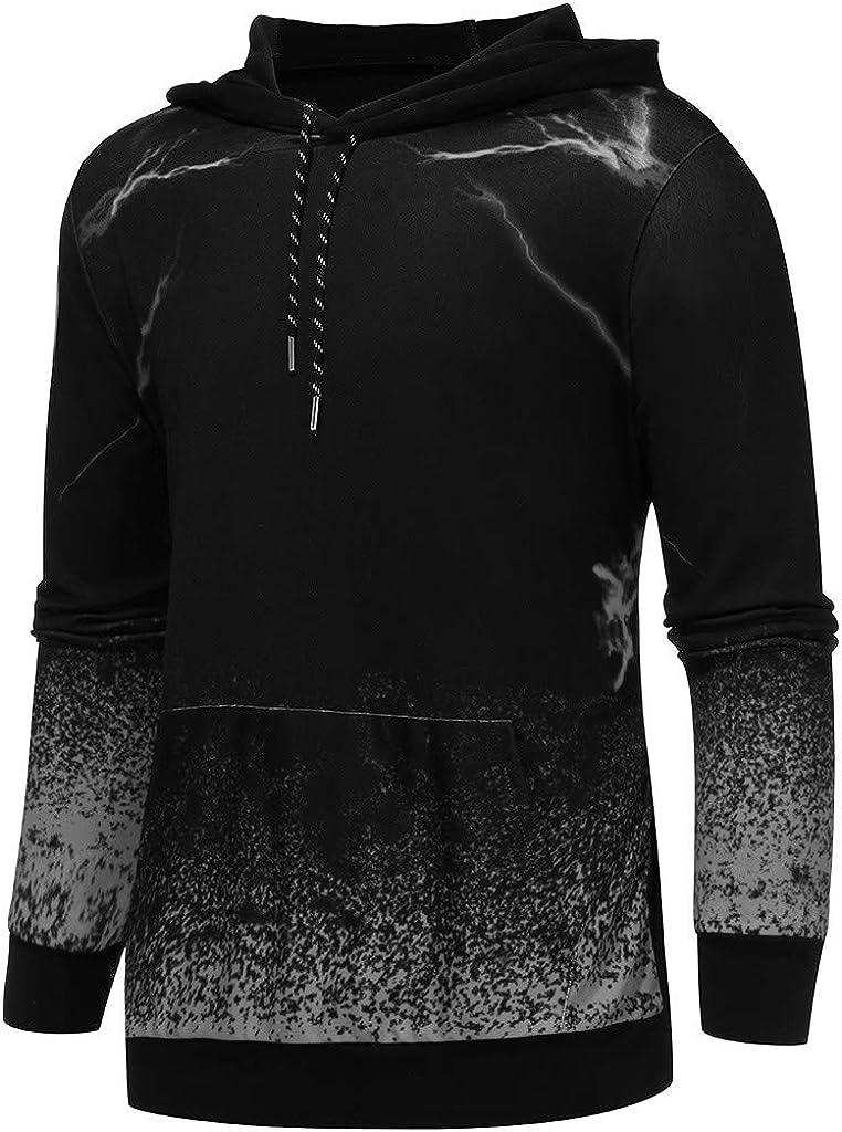Goddessvan 2019 Mens Slim Fit Hoodie Color Block Pullover Hooded Sweatshirt Round Neck Gradient Printing Outwear Blouse