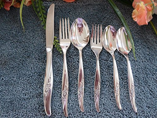 Oneida Rogers 1881 USA Silverplate ROSE SONG 24pcs 4 Place Settings Unused Excellent (Rogers Silverplate Rose Flatware)