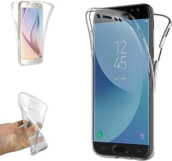 REY Funda Carcasa Gel Transparente Doble 360º para Samsung Galaxy J7 2017, Ultra Fina 0,33mm, Silicona TPU de Alta Resistencia y Flexibilidad: Amazon.es: Electrónica