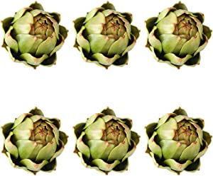 GiftYou [6-Pack] Large Artificial Artichoke Fake Vegetables and Fruits for Kitchen Decorations (Green)