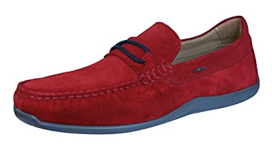 Geox Shoes U Xense Moc C Mens Suede Leather Moccasins-Red-8