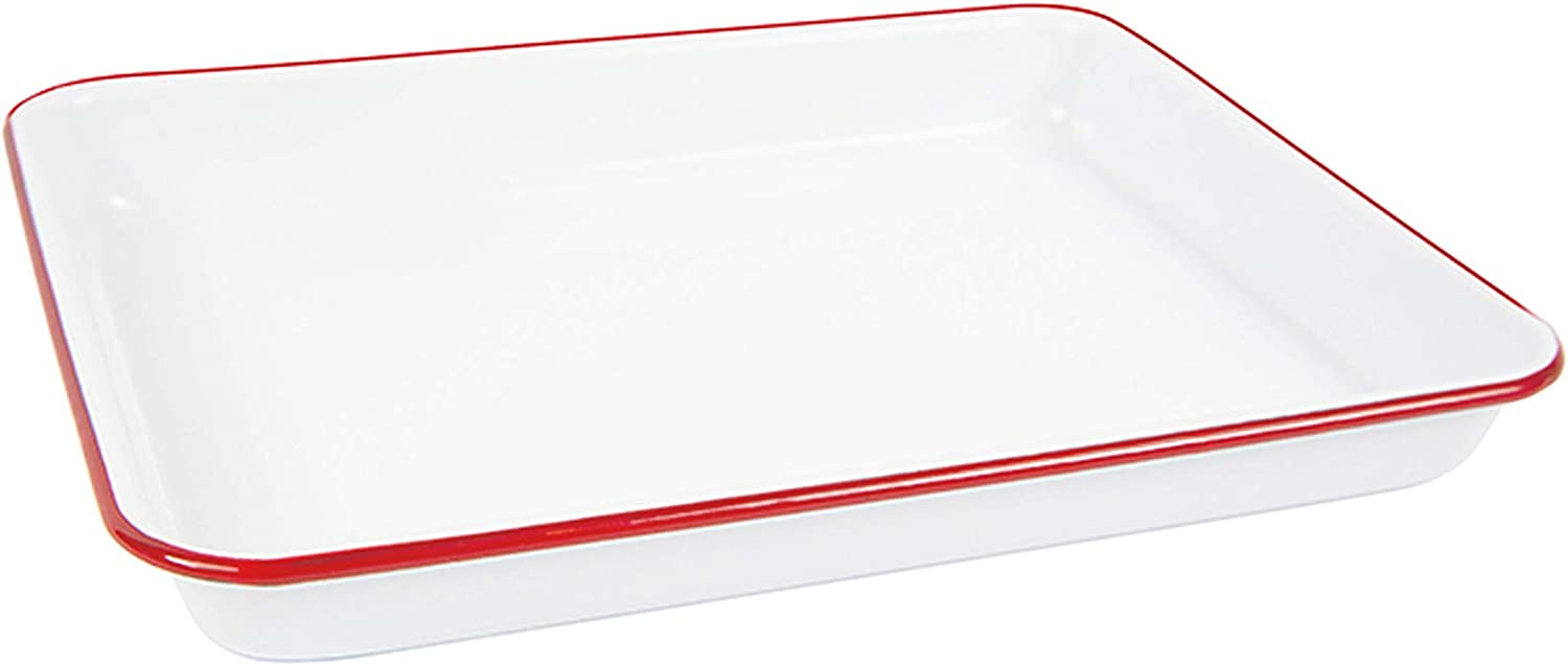 Enamelware Small Rectangular Tray, 11.25 x 9 inches, Vintage White/Red (Single)