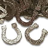 "Custom & Fancy {1'' Inch} Approx 100 Pieces of ""Table"" Party Confetti Made of Premium Card Stock w/ Western Rodeo Cowboy Lucky Glitter Horseshoe Decorative Scatter Craft Design [Silver]"