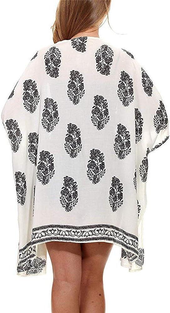 JESPER Women Floral Print Beach Loose Shawl Kimono Half Sleeve Top Cover Blouse
