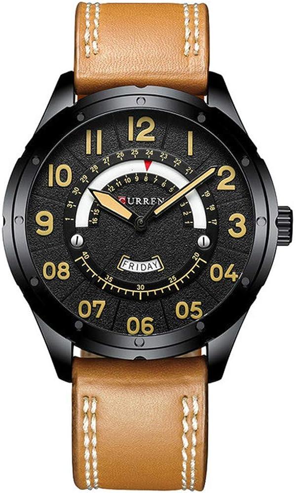 Reloj de Pulsera de Cuero de Negocios Informal para Hombres Marca Reloj Militar Verde Reloj de Pulsera de Cuarzo para Hombres Reloj de Calendario Masculino