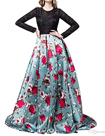 Kiss Rain Womens Floral Print Evening Prom Dresses Ball Gown with Sleeves