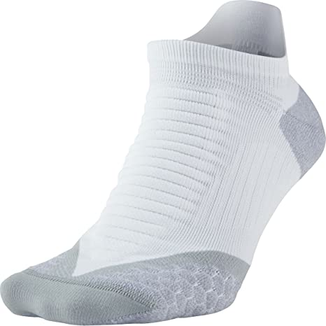 Nike No Show Socks Elite Running Cushion NST Calcetines, Unisex Adulto, Blanco/Gris