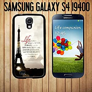 Life Is Short Romantic Paris Effiel Custom made Case/Cover/skin FOR Samsung Galaxy S4 - Black - Rubber Case ( Ship From CA)