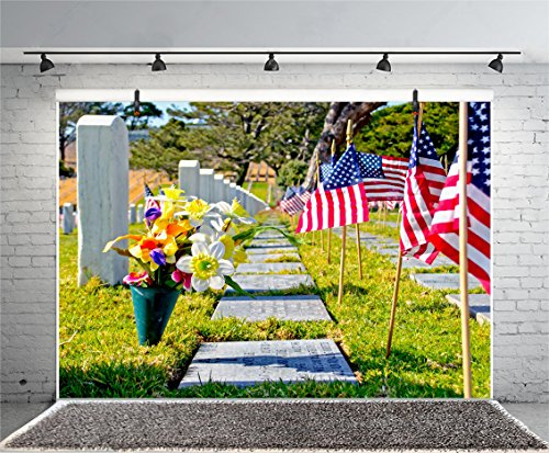 Leyiyi 5x3ft Photography Background Memorial Day Celebration Background Tombstones American Flag Grassland Flowers Trees Cemetery Backdrop Outdoor Photography Portrait Vinyl Studio Shooting ()