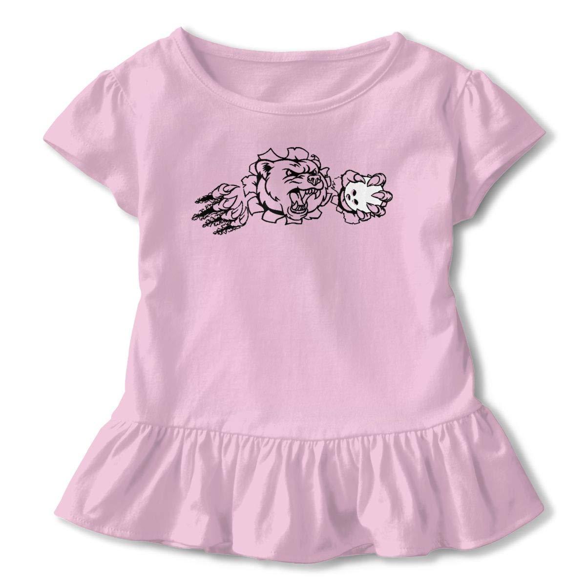Bear Holding Bowling Ball Shirt Comfort Infant Girl Flounced T Shirts Shirt Dress for 2-6T Kids Girls