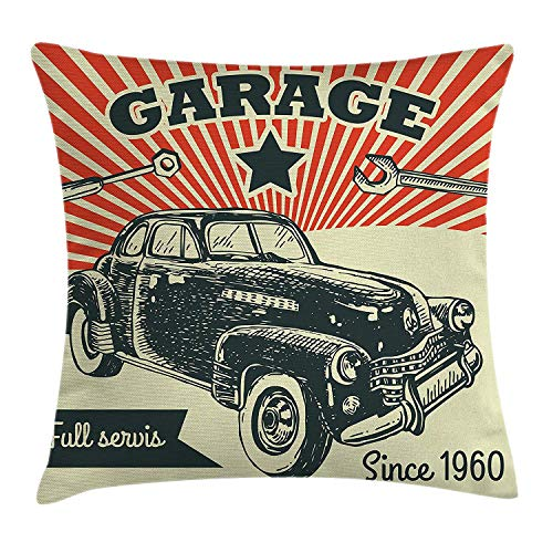 Cars Throw Pillow Cushion Cover, Retro Car and Garage Advertising Poster Style Picture with Grunge Effects 1960s, Decorative Square Accent Pillow Case,Emerald Orange 16x16inch