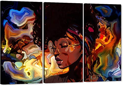 3 Pieces African American Girl Abstract Canvas Wall Art