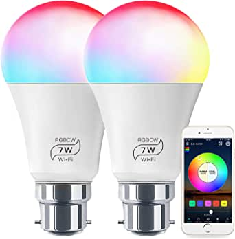 Smart Light No Hub Required, Zombber B22 A19 7w (60w Equivalent) 2700k-6500k White and Color Changing WiFi Light Bulb, Compatible with Alexa Google Home Siri IFTTT (2Pack)