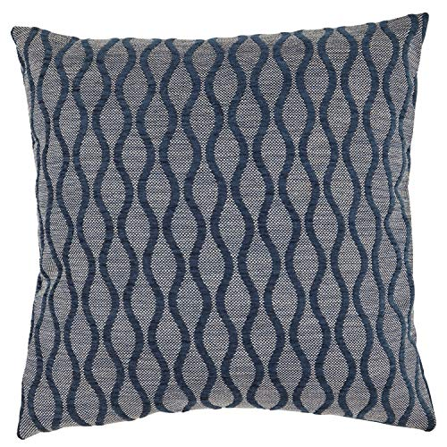 Rivet Mid-Century Wave Throw Pillow – 17 x 17 Inch, Indigo