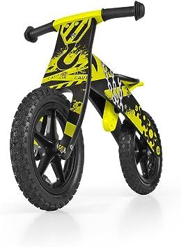 MILLY MALLY Madera Bike Balance niños del Muchacho / Bicicleta de Entrenamiento para niños de 12 , Duplo / tirón: construcción Amarillo: Amazon.es: Juguetes y juegos
