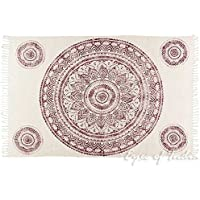 Eyes of India - 4 X 6 ft Mandala White Burgundy Red Cotton Printed Area Accent Overdyed Dhurrie Rug Woven Weave Boho Chic Indian Bohemian