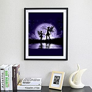 Clearance Arts Rakkiss 5D Purple Moon Night Elf Teenage Girl Embroidery Square Diamond Drawing Round Drill Home Decor Gift 3040CM