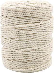 328 Feet 3mm Macrame Cord, Strong Food Safe Cotton Cooking String for Tying Meat, Baking, DIY Crafts, Gifts