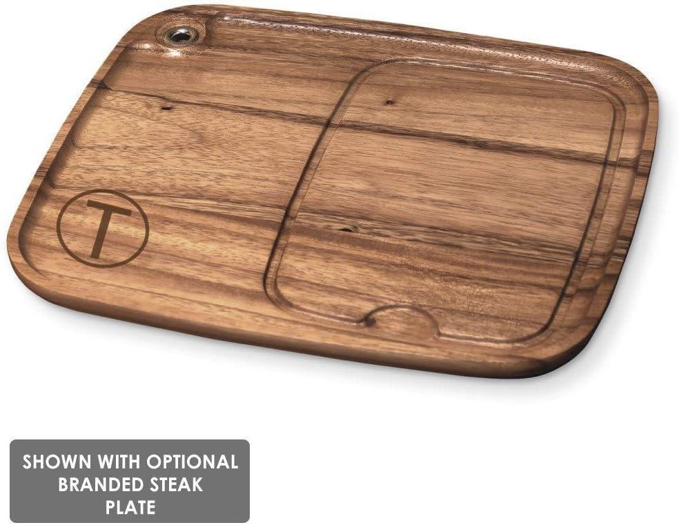 BBQ Fans Western Monogram Branding Iron with Redwood Plank Wood Steak Plate