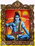 Hindu Lord Shiva Doing Meditation with Shivling Poster Painting in Wood Crafts Frame, Handicrafts Art