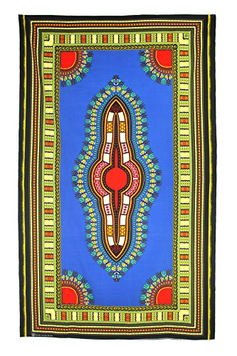 (Vipada Handmade's Dashiki Fabric Angelina Print 100% Cotton (Blue))