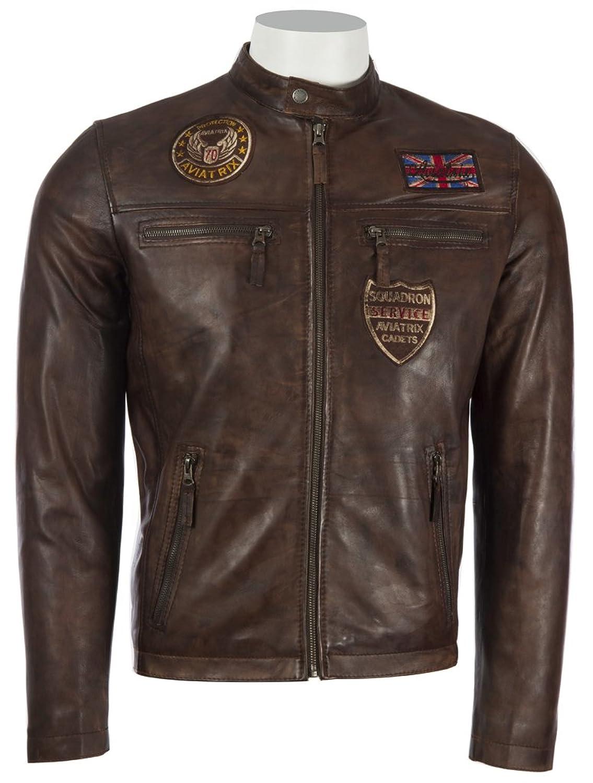 Mens 100% Genuine REAL Super-Soft Leather Vintage Union Jack Brown Biker Jacket by MDK